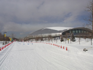 クロスカントリースキーのゴール地点と札幌ドーム