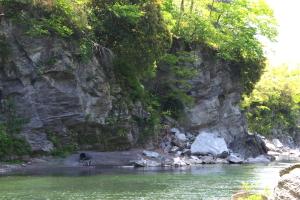 右岸岩石崩壊