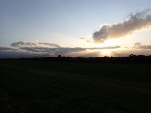 夕日の手稲山